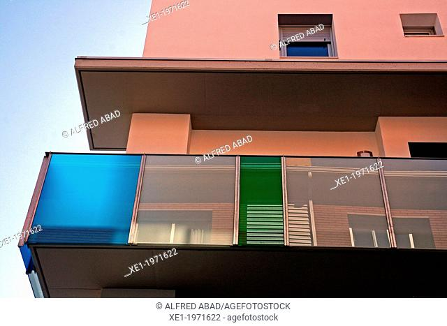 balcony, homes, Figueres, Catalonia, Spain