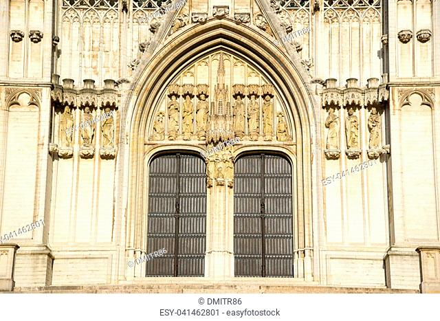Facade of the Cathedral of Brussels or Cathedral of St. Michael and St. Gudula in Brussels, Belgium