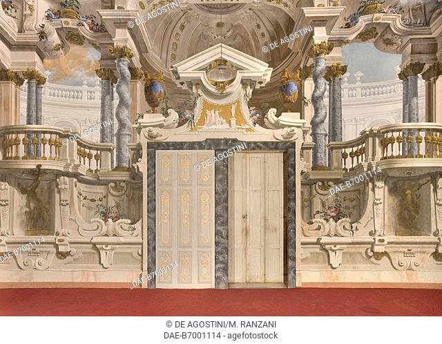 Door surrounded with frescoes by the Galliari brothers, 1750-1760, ballroom (Salone delle Feste), first floor (piano nobile), Villa Arconati