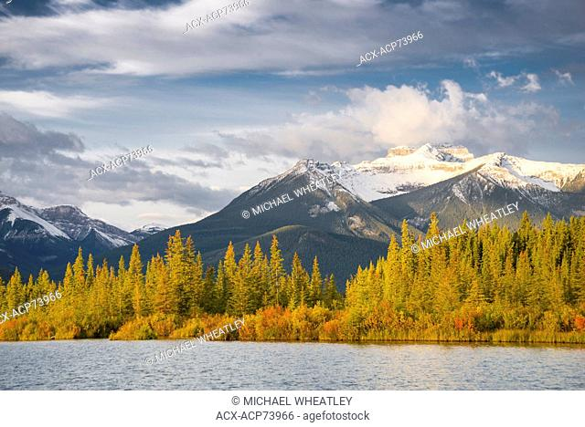 Vermilion Lakes, Banff National Park, Alberta, Canada. Mount Bourgeau in the distance