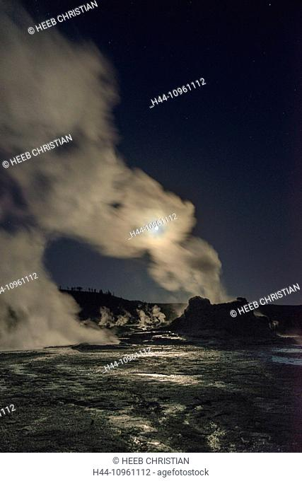 America, Wyoming, USA, United States, Yellowstone, National Park, UNESCO, World Heritage, nature, castle geyser, geyser, steam, thermal, night, moon, volcanic