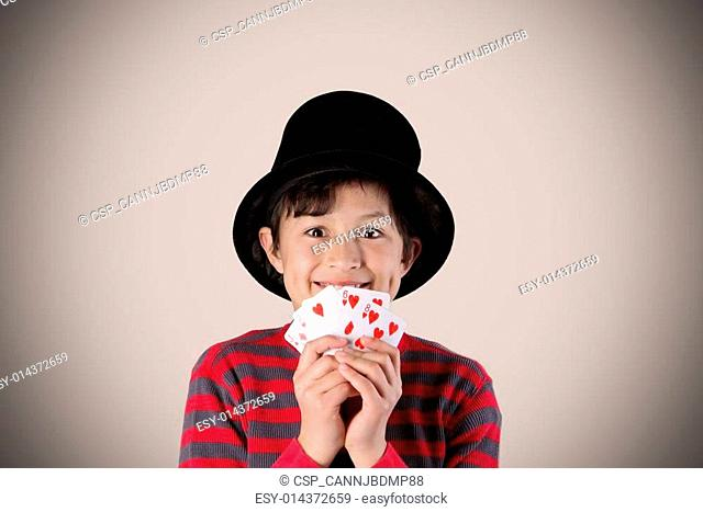 Young magician with vintage colors and effects