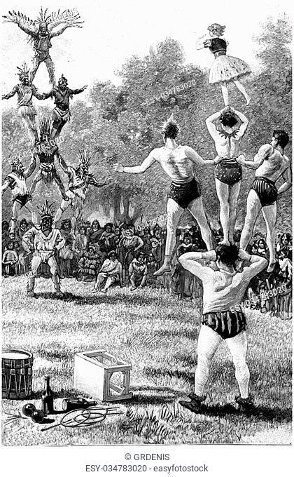 Pyramid against pyramid, vintage engraved illustration. Jules Verne Cesar Cascabel, 1890