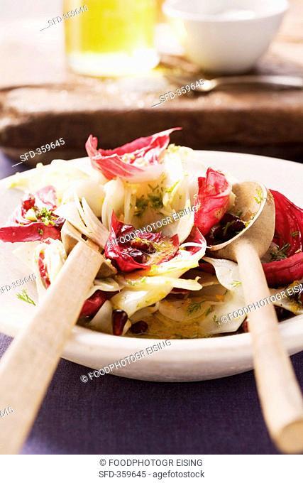 Radicchio salad with pomegrante seeds
