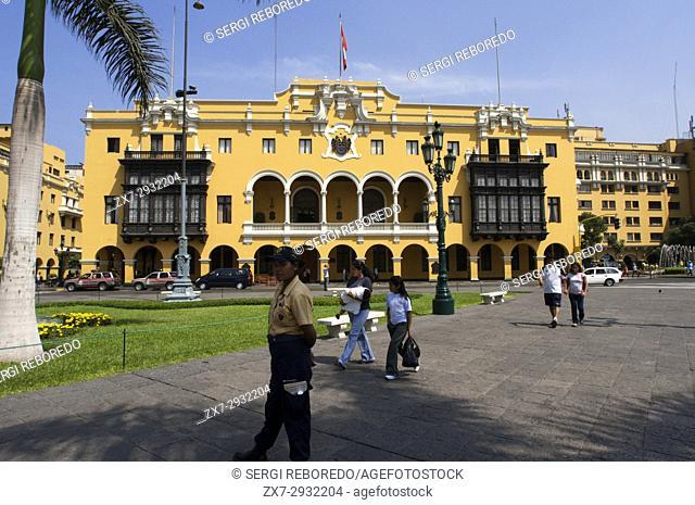 Plaza de Armas square, Plaza Mayor, Peru. House with traditional balcony at city center, Lima, Peru, South America