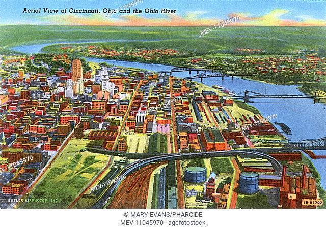 Aerial view, Cincinnati and Ohio River, Ohio, USA