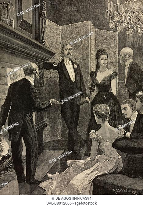 Waiting for dinner, engraving after a drawing by Richard Caton Woodville (1856-1927), engraving from The Illustrated London News, volume 97, No 2697