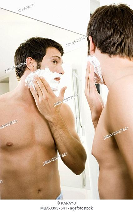 Man, attractively, shaving cream, is too bulky, reflection, semi-portrait, s/w, broached