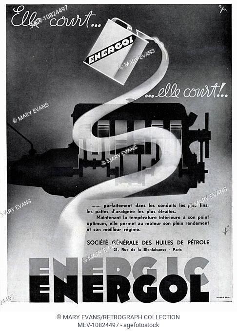 Art Deco Magazine Advertisement for Energic Energol car oil
