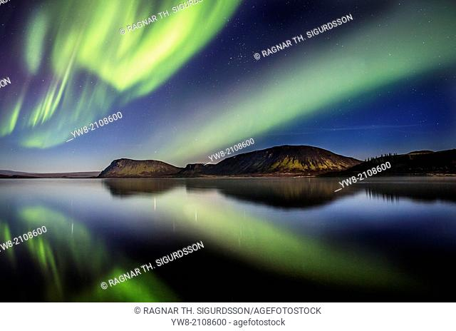 Aurora Borealis or Northern Lights at Lake Thingvallavatn, Thingvellir National Park. Iceland. Thingvellir National Park is a Unesco World Heritage site