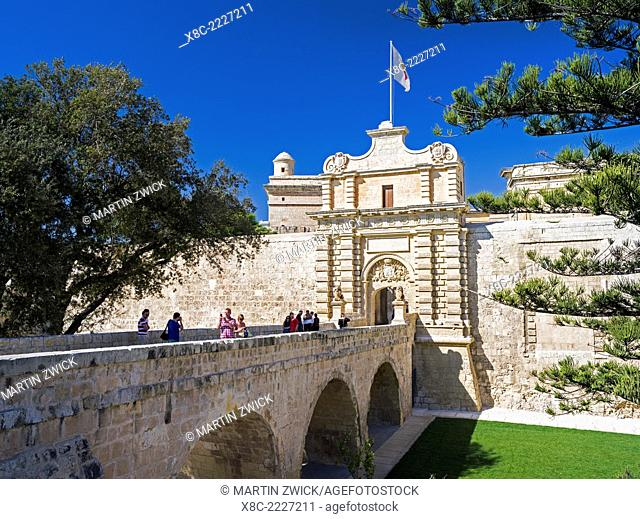 Mdina city walls with the Main Gate, Mdina is the old capital of Malta. Europe, Southern Europe, Malta, April
