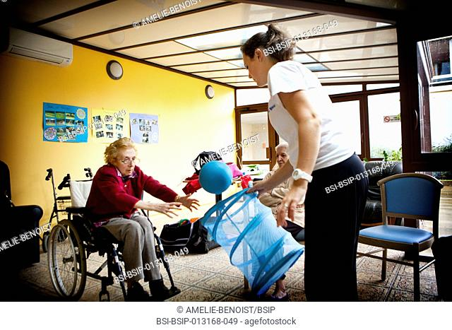 Reportage in Chelles Manor retirement home, France. Gym lessons for residents suffering from Alzheimer's disease