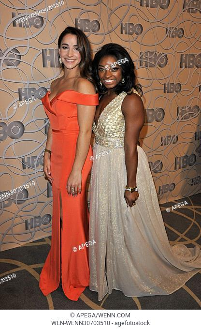 HBO Golden Globes 2017 After Party - Arrivals Featuring: Aly Raisman, Simone Biles Where: Los Angeles, California, United States When: 09 Jan 2017 Credit:...
