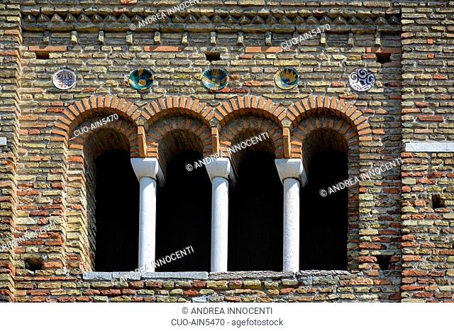 Basilica of San Francesco Church, particular of the tower, Ravenna; Emilia Romagna; Italy, Europe