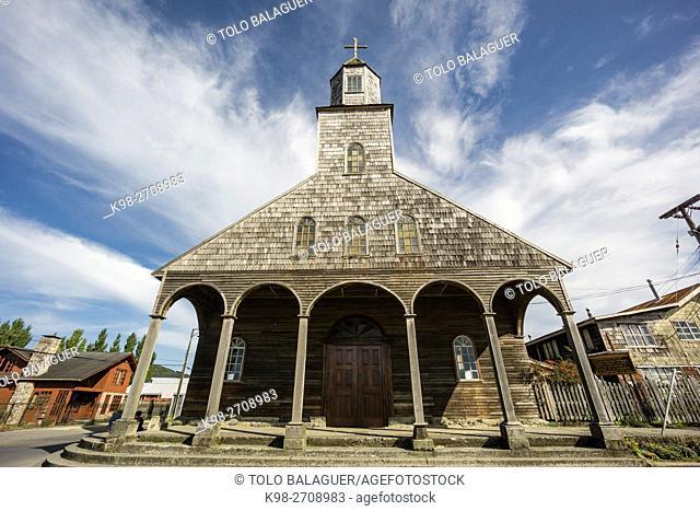 Iglesia Santa María de Loreto ,Achao, 1740, Monumento Nacional de Chile, Patrimonio de la Humanidad por la Unesco, archipiélago de Chiloé ,provincia de Chiloé