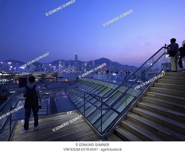 'Sky Bridge' viewing platform with view towards Hong Kong Skyline. West Kowloon Station, Hong Kong, China. Architect: Andrew Bromberg Aedas, 2018