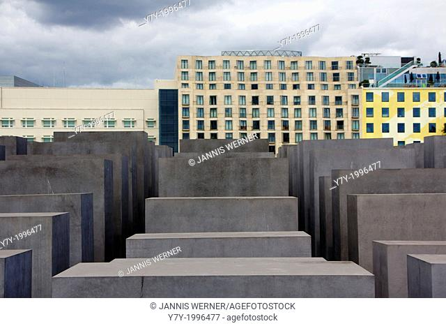 Concrete Stelae of the Denkmal für die ermordeten Juden Europas, the central memorial site for the jew murdered by Nazi Germany during the holocaust, in Berlin