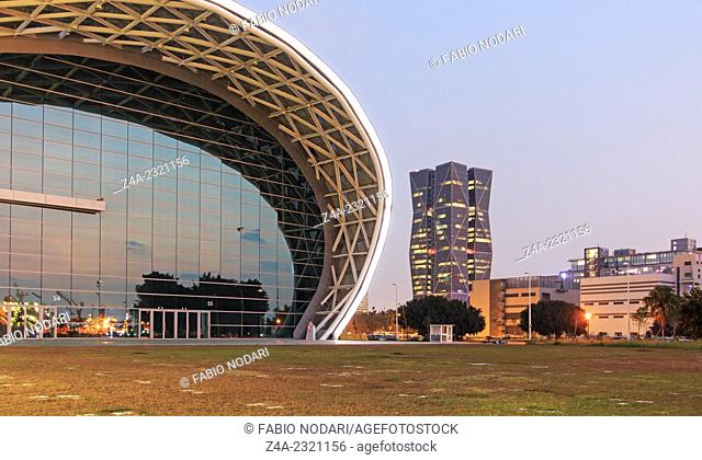 Kaohsiung, Taiwan: The newly opened Kaohsiung Exhibition Center and the China Steel Corporation Headquarters on the right side