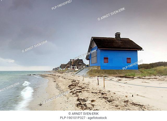 Beach houses on the peninsula Graswarder, Heiligenhafen, Schleswig-Holstein, Germany