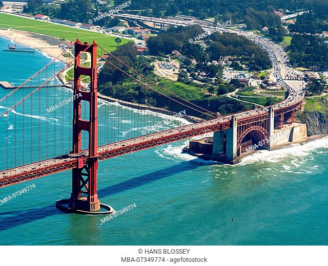 South side of Golden Gate Bridge with toll station, San Francisco, San Francisco Bay Area, United States of America, California, USA