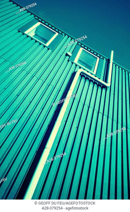 Side of corrugated metal building
