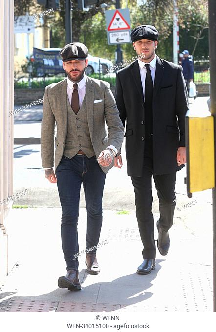 The cast of 'TOWIE' filming a 1920's themed event at the George Tavern in East London Featuring: Pete Wicks, James Lock Where: London