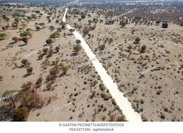 Aerial view of a road near Maun, Botswana