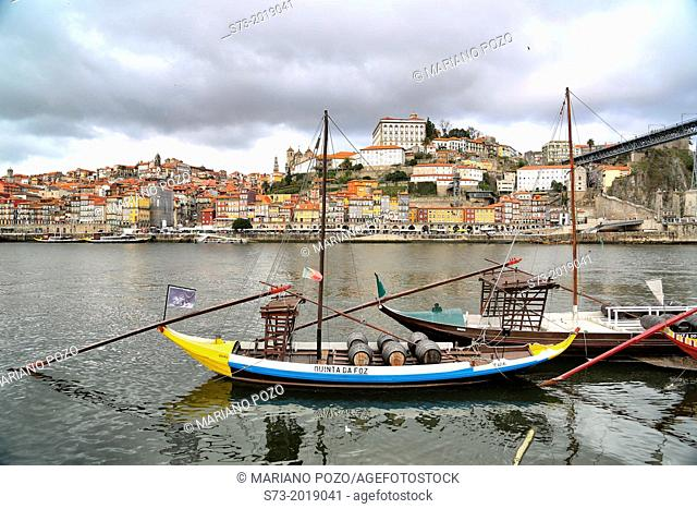 Rabelos typical barges on Douro river. Vila Nova de Gaia, Porto