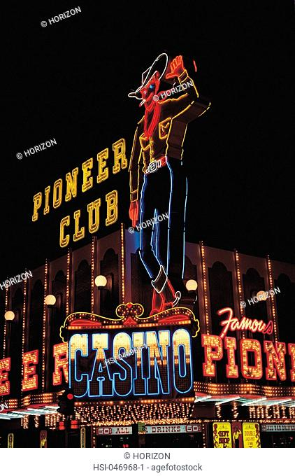 Pioneer club neon cowboy seen at Glitter Gulch Las Vegas Nevada USA