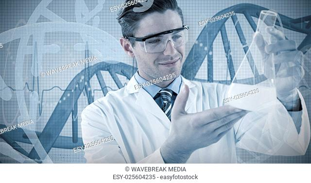 Composite image of scientist pretending to be doing experiment