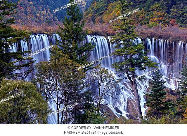 China, Sichuan province, Jiuzhaigou National Park listed as World Heritage by UNESCO, Waterfall, Shuzheng Falls