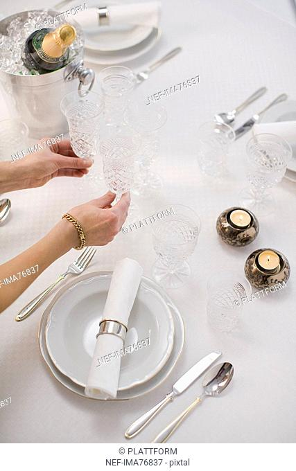 The laying of a table for a special occasion