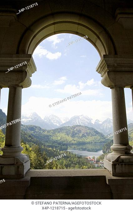 View from a balcony of Neuschwanstein Castle towards the Alplake, Schloss Neuschwanstein, Bavaria, Germany