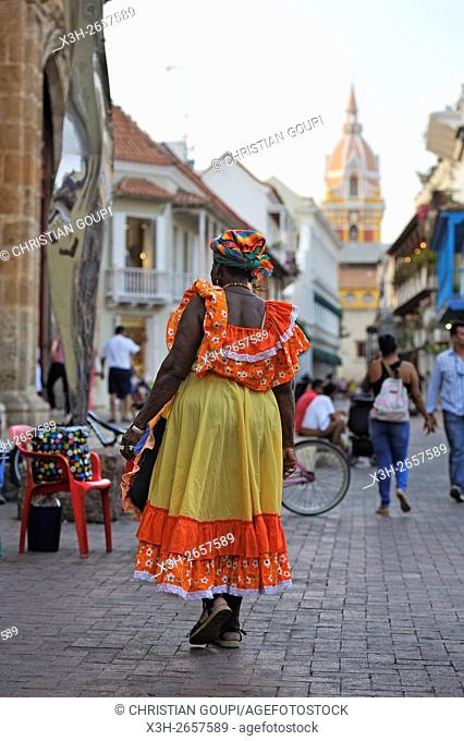 Palenque woman selling fruits in downtown colonial walled city, Cartagena, Colombia, South America