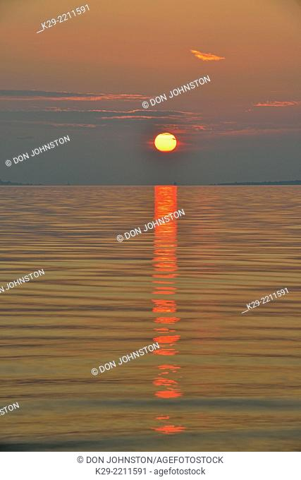 Shores of the Straits of Mackinac, Lake Huron, at dawn, Mackinaw city, Michigan, USA