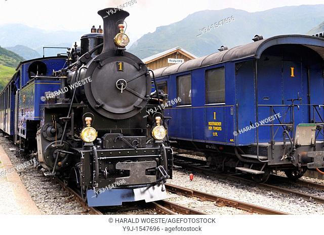 Furka cogwheel steam railway at Realp station  Switzerland, Western Europe, Grimsel-/Furka region, Uri  The steam engine HG 3/4 No  1 Furkahorn DFB 1 was built...
