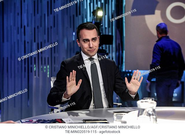 Italian Deputy Premier and Labour and Industry Minister Luigi Di Maio attends at the tv show Otto e mezzo, Rome, ITALY-02-05-2019