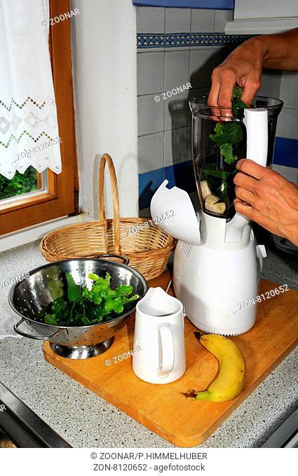 Brennnessel-Smoothie zubereiten, Brennnesseln in Mixer geben