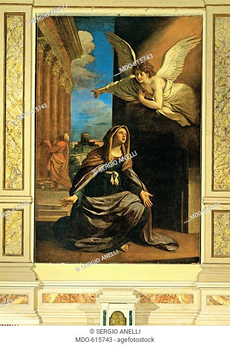 The Angel Appearing to St Anne, by Barbieri Giovan Francesco known as il Guercino, 1640, 17th Century, canvas. Italy, Marche, Tolentino, Macerata