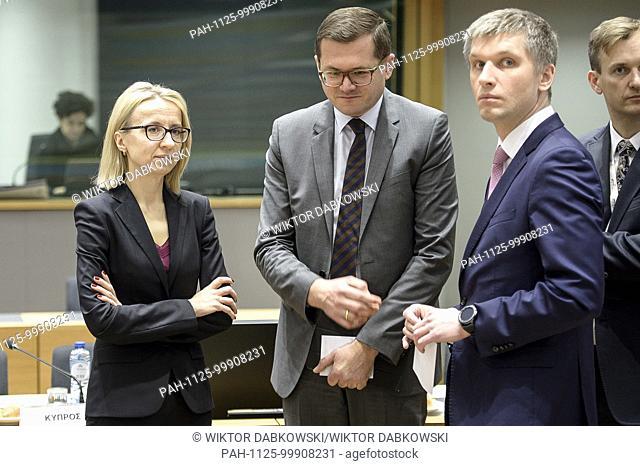 Polish Finance Minister Teresa Czerwinska (L) Andrzej Sado? - Polish Chargé d'affaires ad interim to EU (C) and State Secretary Piotr Nowak (R) prior to the...