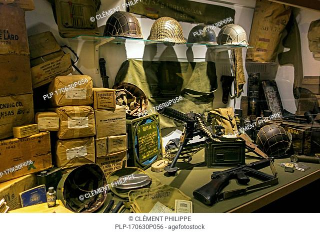 US army weapons and first aid dressings at the Memorial World War II Museum at Quinéville, Manche, Normandy, France