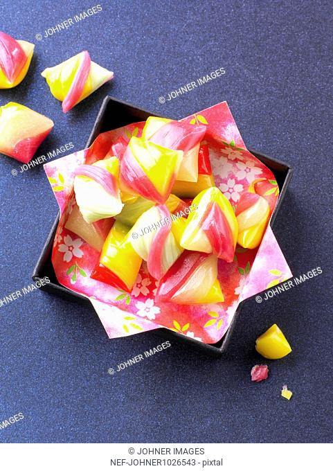 Hard candies in box