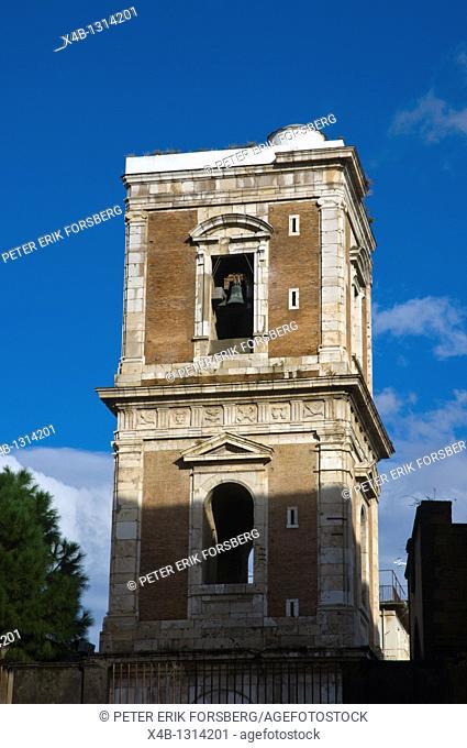 Bell tower of reconstructed Basilica di Santa Chiara church at Piazza del Gesu Nuovo central Naples Italy Europe