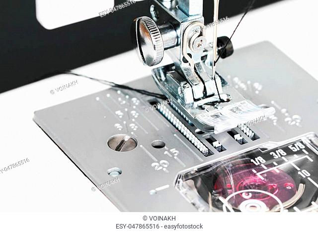 Sewing machine close up detail trendy macro photo