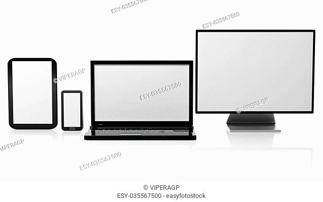 Tablet, laptop, monitor and smartphone templates with black screens, isolated on white background