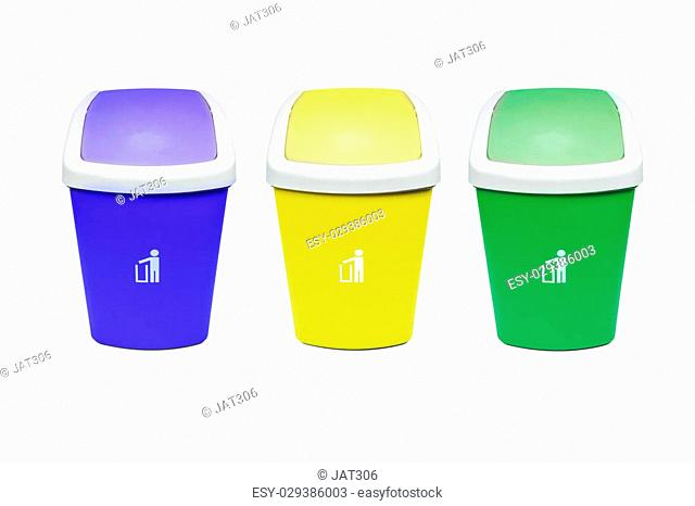 Colorful Recycle Bins Isolated Over White Background