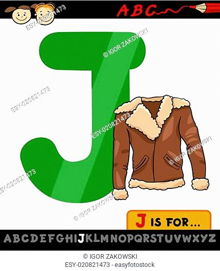 letter j with jacket cartoon illustration