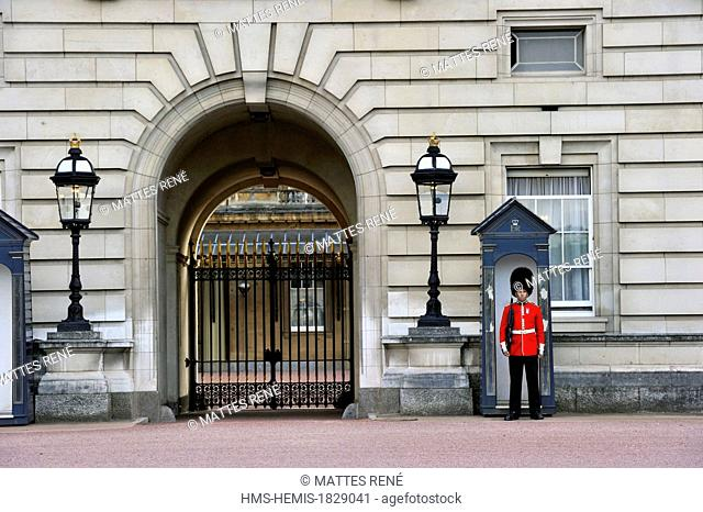 United Kingdom, London, Westminster, English guard in front of Buckingham Palace