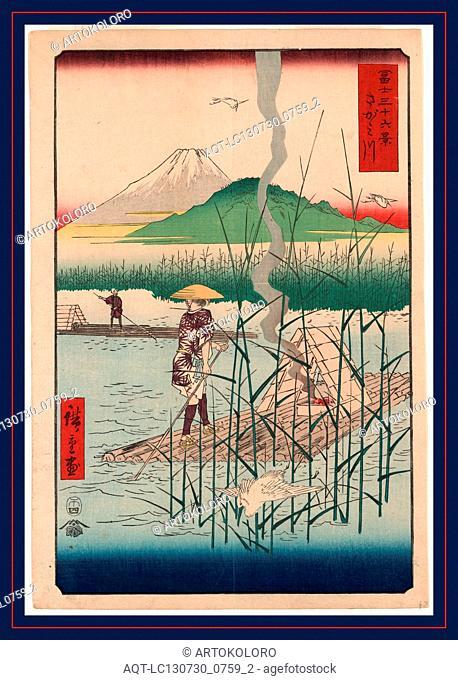 [Sagamigawa], Sagami River., Ando, Hiroshige, 1797-1858, artist, [Tokyo] : Tsuta-ya Kichizo, 1858., 1 print : woodcut, color ; 35.9 x 24.7 cm