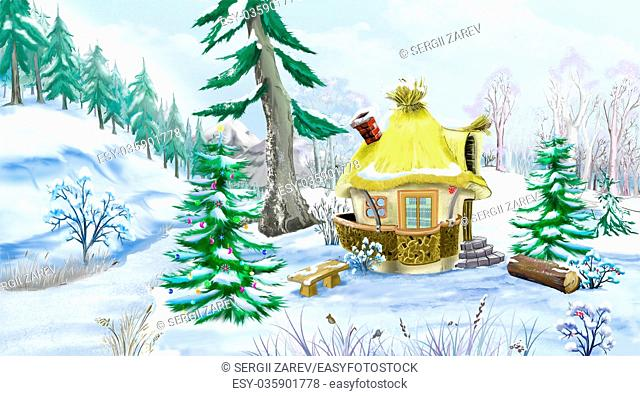Green Spruces near a Fairy Tale House in a Winter Forest at New Year Eve. Handmade illustration in a classic cartoon style